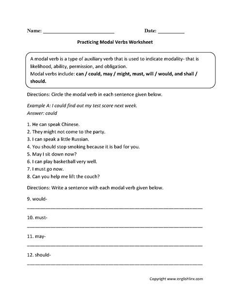 verbs worksheets modal verbs worksheets