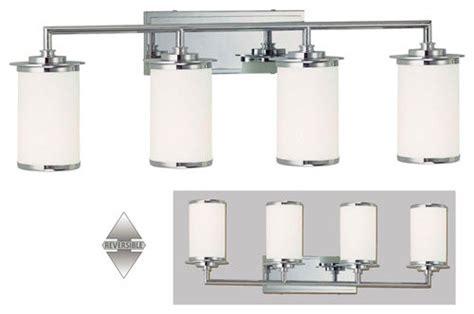 Chrome 4 Light Bathroom Fixture by Glass Note Chrome Fluorescent Four Light Bath Fixture