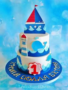 Nautical Birthday Cake For A Little Sailor - CakeCentral com