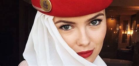 meet   beautiful flight attendant  emirates