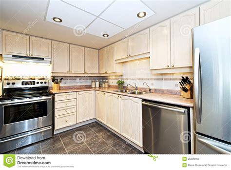 Modern Kitchen With Appliances Stock Image  Image Of