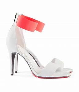 h&m white strappy sandals with neon elastic strap