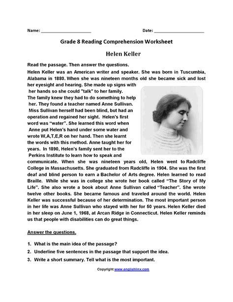 main idea worksheet 8th grade printable worksheets and