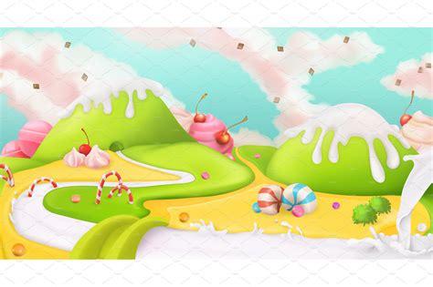 sweet landscape vector background custom designed