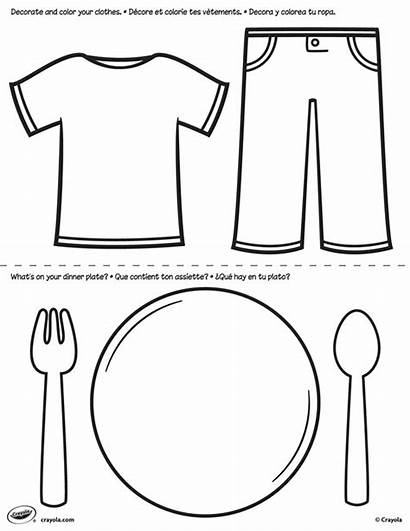 Plate Coloring Clothes Pages Bear Preschool Worksheets