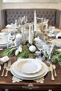 winter, white, snowflake, christmas, table, setting