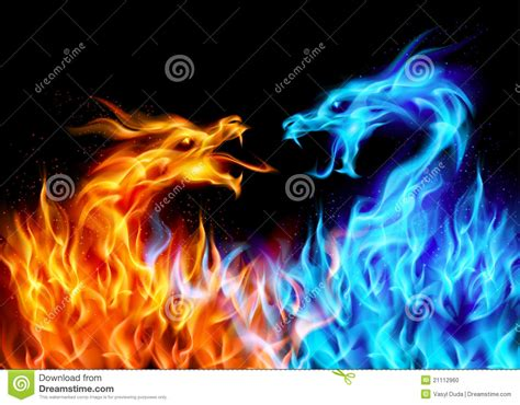 Cool Yin Yang Wallpapers Blue And Red Fire Dragons Stock Photo Image 21112960