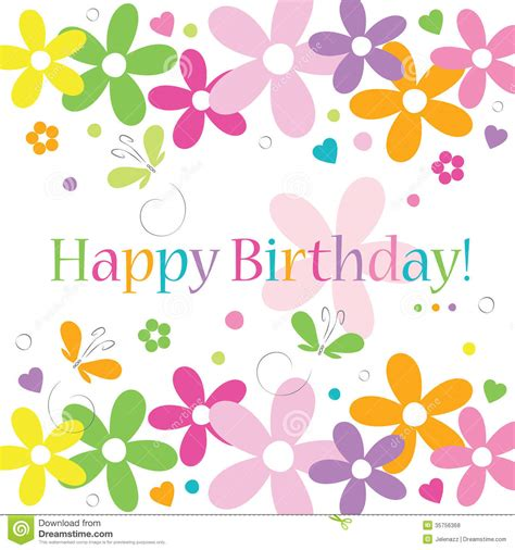 Hearts Flowers And Butterflies Happy Birthday Card Stock