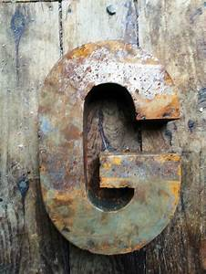 14 inch letter quotgquot metal vintage look rustic rusty rusted With 3 inch rustic metal letters