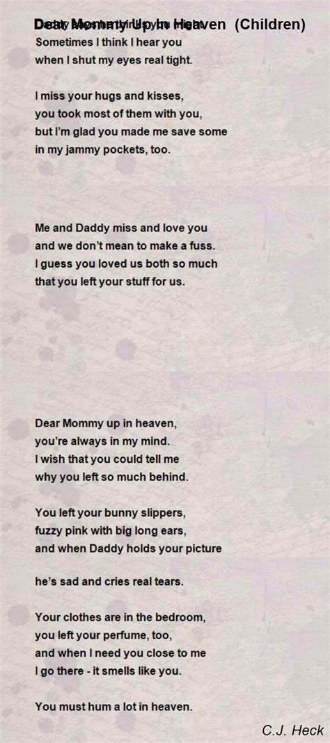 Fuzzy Bedroom Slippers by Dear Mommy Up In Heaven Children Poem By C J Heck