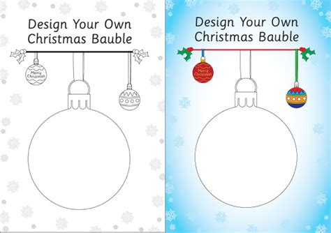 design your own bauble template free early years