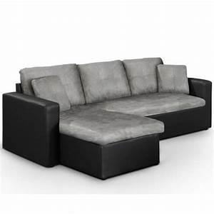 Canapé Lit Angle : canap lit d 39 angle convertible starter noir gris achat vente canap sofa divan cdiscount ~ Teatrodelosmanantiales.com Idées de Décoration