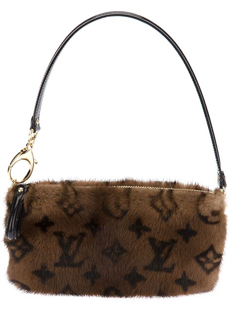 louis vuitton mink fur shoulder bag  brown lyst
