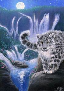 Snow Leopard Waterfall Moon Wildlife Landscape Limited