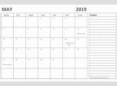 May 2019 Calendar Templates