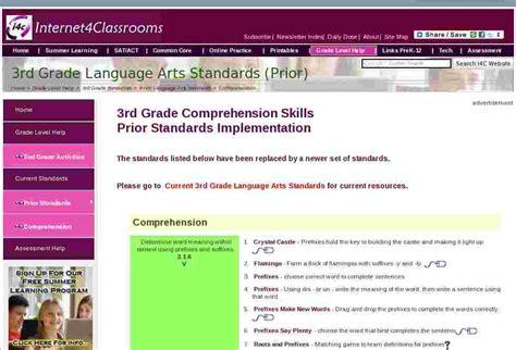 language arts comprehension standards  grade