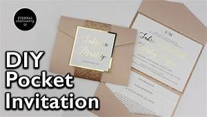 diy gold foil pocket folio wedding invitation with With diy pocket wedding invitations youtube