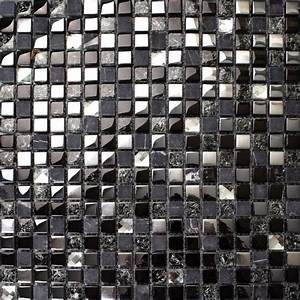 Crackle crystal mosaic diamond silver plating glass tile for Glass and marble mosaic tile backsplash