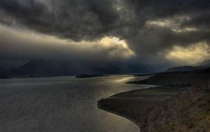 Nature, Landscape, Lake, Mountain, Storm, Dark, Clouds, Chile, Mist, Sunlight, Wallpapers, Hd