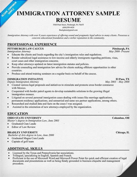 Attorney Resume Template by Immigration Attorney Resume Resumecompanion