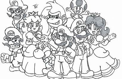 Mario Coloring Pages Characters Super Kart Odyssey