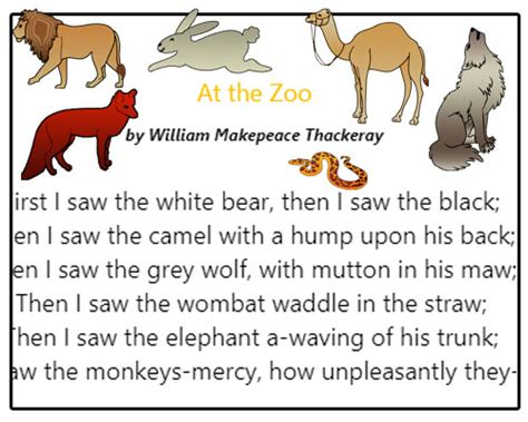 poetry comprehension   zoo english worksheets