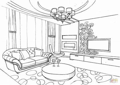Coloring Living Pages Ornament Drawing Interior Printable