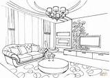 Coloring Room Living Pages Ornament Drawing Interior Printable Colouring Perspective Sheet Paper sketch template