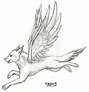 Easy Wolf Drawing With Wings