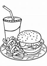 Food Plate Drawing Unhealthy Coloring Pages Getdrawings sketch template