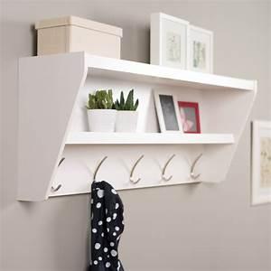 Floating, Entryway, Shelf, U0026, Coat, Rack, -, White