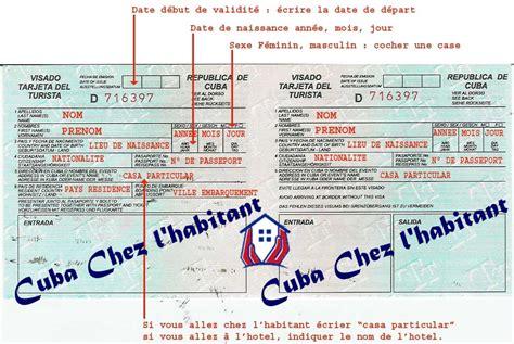 Consulat Cuba Carte Touristique edition d une demande de cartes de tourisme cuba chez l