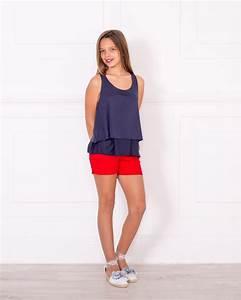 Outfit Top Capas Marino u0026 Short Algodu00f3n Rojo | Missbaby