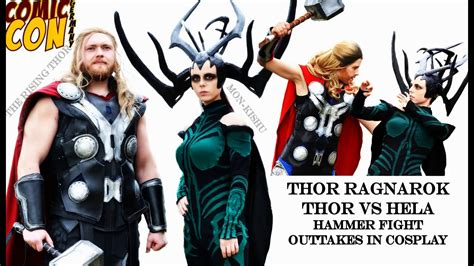 ragnarok thor vs hela hammer battle outtakes at comic con