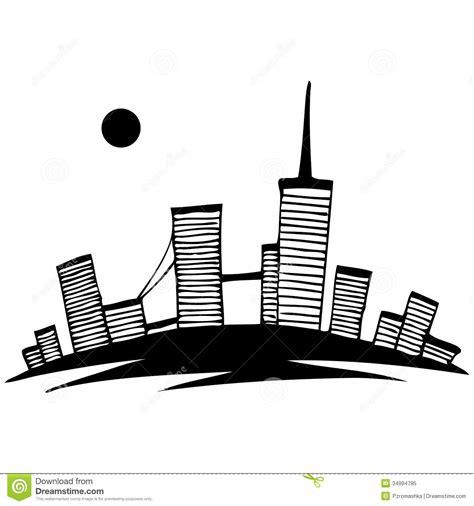 silhueta preto  branco da cidade vetor simples