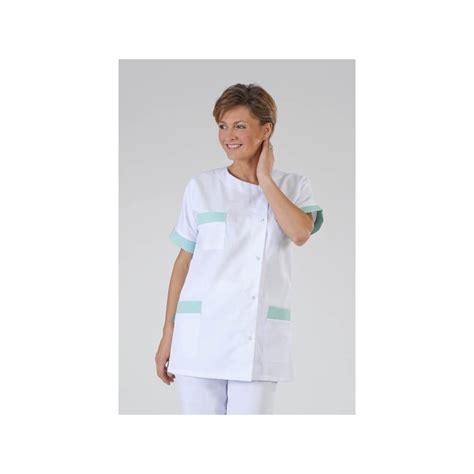 vetement de cuisine professionnel pas cher blouse médicale femme infirmière blanche et verte label blouse