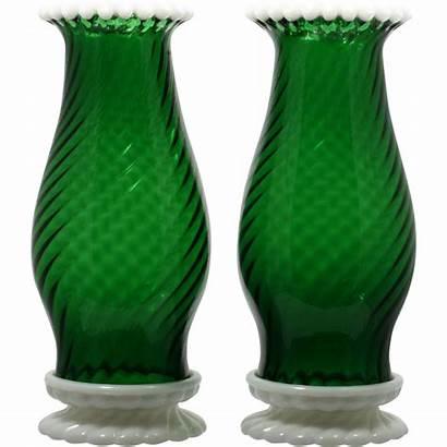 Fenton Lamps Glass Hurricane Snowcrest Candle 1950s
