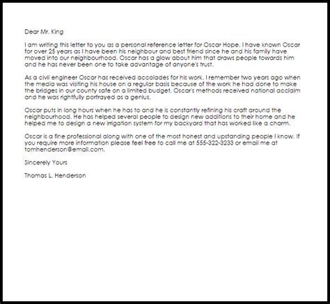 personal recommendation letter template personal reference letter exle letter sles templates