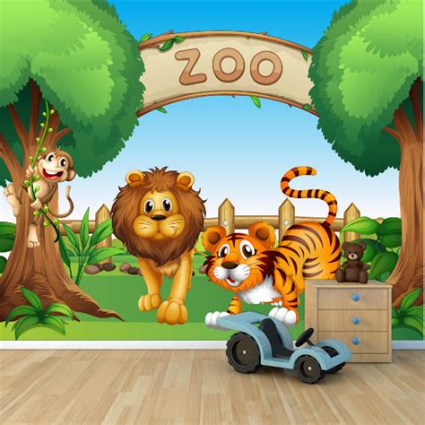 Childrens Animal Wallpaper Uk - zoo animals childrens wallpaper mural design wm425