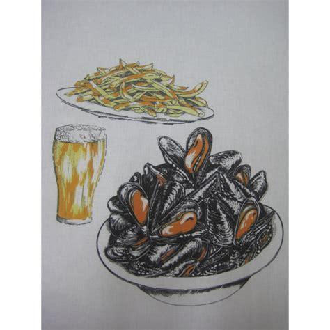tablier de cuisine blanc bavoir moules frites bierre 100 coton 59x37 cm