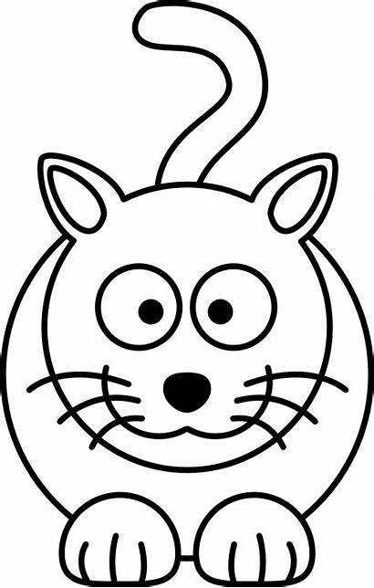 Cat Cartoon Coloring Drawing Line Colouring Clip