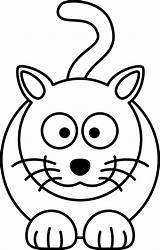 Cat Cartoon Coloring Drawing Line Colouring Clip Drawings Clipart Px Lemmling Vector Simple Pages Clker Shared sketch template
