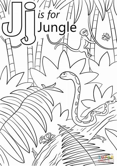 Coloring Jungle Pages Letter Scene Crafts Preschool