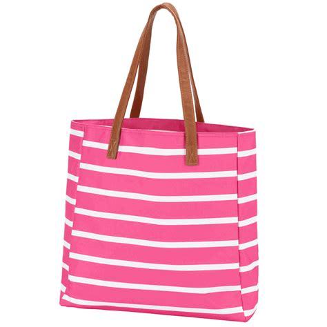 Embroidered Tote Bag embroidered tote bag stripe mint pink