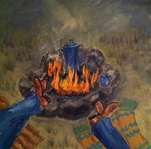 Cowboy Campfire Painting by Janis VanMeter