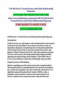 Cis 336 Ilab 1 Normal Forms And Entity Relationship