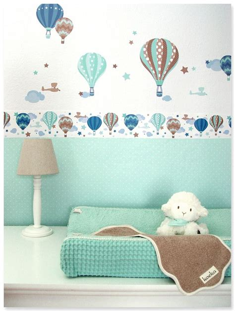 Kinderzimmer Deko Wandsticker by Hei 223 Luftballons Boys Taupe Mint Selbstklebende