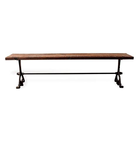 cast iron bench bartley industrial reclaimed wood cast iron dining bench 71 inch kathy kuo home