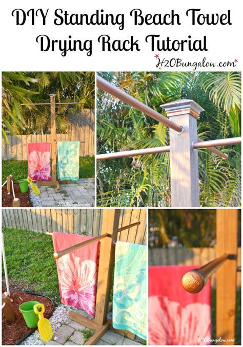 diy outdoor standing towel rack hbungalow