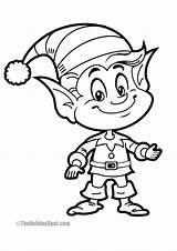 Christmas Coloring Elf Fun Smiling Theholidayspot sketch template